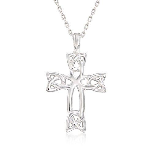 Ross-Simons Sterling Silver Celtic Trinity Knot Cross Pendant Necklace