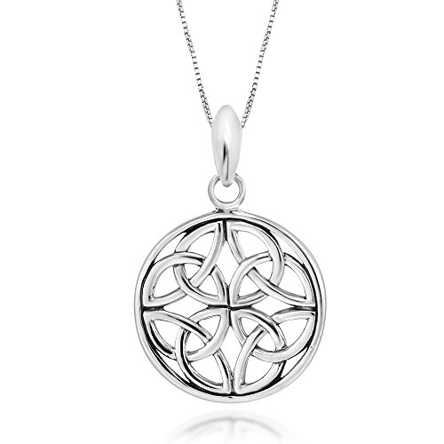 """925 Sterling Silver Celtic Knot Round Pendant Necklace, 18"""""""
