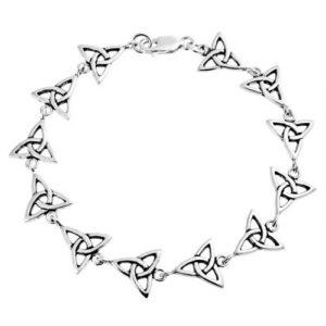 Triquetra Celtic Trinity Knot 925 Silver Link Bracelet 7in