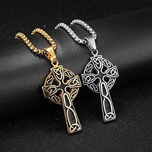 LineAve Men's Stainless Steel Large Celtic Cross with Irish Knot Pendant Necklace