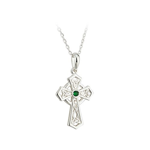 Silver & Green Crystal Trinity Knot Celtic Cross Necklace