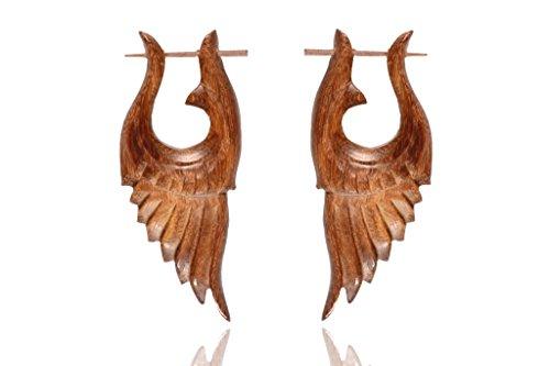 Ethnic African Tribal Design Wooden Handmade Brown Wood Stick Earring WER406