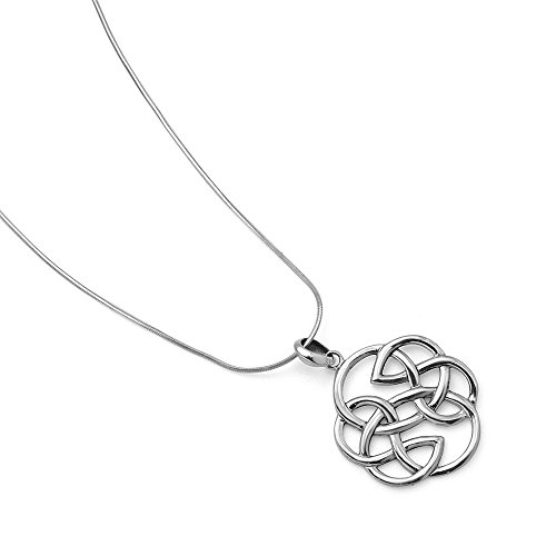 """Chuvora 925 Sterling Silver Open Celtic Knot Infinity Endless Love Round Shaped Pendant Necklace 18"""""""