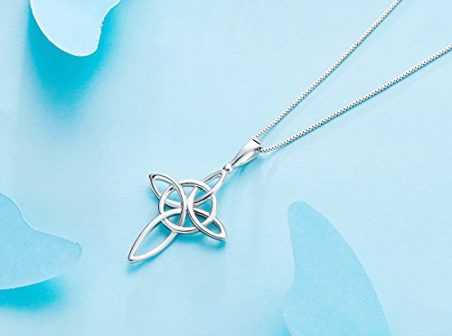 Victoria Jewelry 925 Sterling Silver Celtic Knot Cross Pendant Necklace Idea for Women