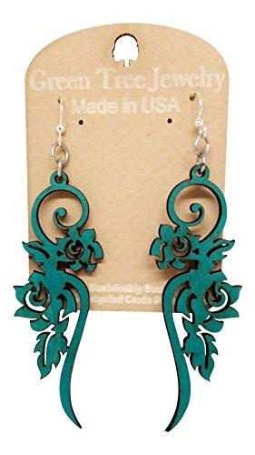 Long Flower Wooden Earrings for Women with Stainless Steel Hooks,Teal Green