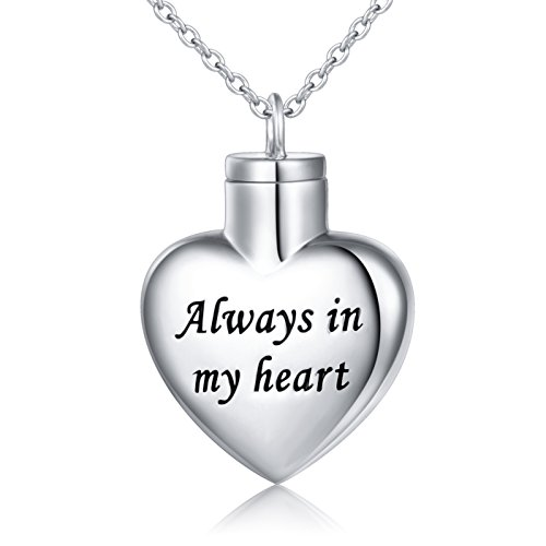 """Cremation Jewelry Sterling Silver Always in My Heart Urn Necklace Ashes Keepsake Pendant Necklace, 18-20"""""""
