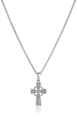 "Girls' Children's Sterling Silver Celtic Cross Pendant Necklace, 15"""