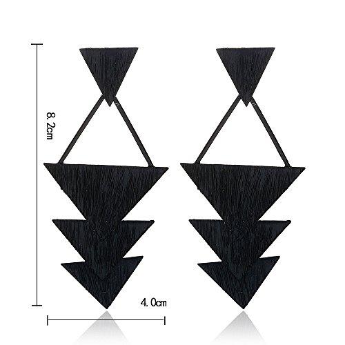 Alloy Wood Grain Earrings for Women Triangle Shape Big Statement Earrings