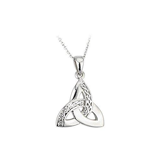 Solvar Celtic Weave & Trinity Knot Necklace Silver Irish Made