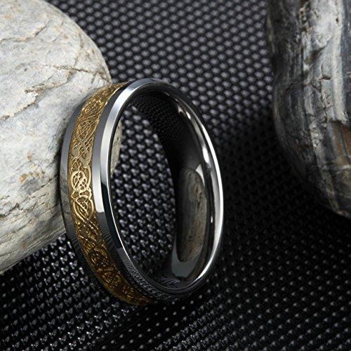 Frank S.Burton 6mm 8mm Celtic Tungsten Rings for Men Women Dragon Design Tungsten Carbide Wedding Band