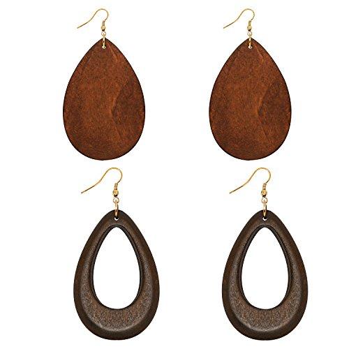 Wowanoo Natural Wood Earrings Geometric Earrings Wooden Water Drop Earrings for Women Statement Earrings