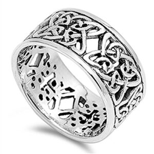 CHOOSE YOUR COLOR Sterling Silver Celtic Knot Ring