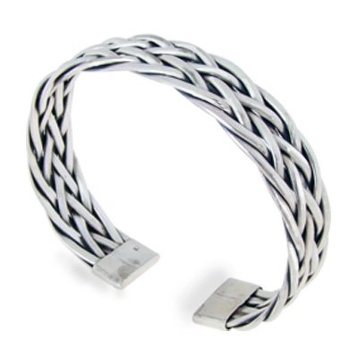 Chuvora 925 Sterling Silver Detailed Braided Woven Weaving Celtic Cuff Bracelet - Nickel Free