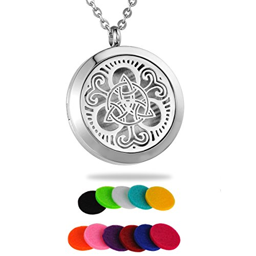 HooAMI Aromatherapy Essential Oil Diffuser Necklace - Stainless Steel Celtic Knot Round Locket Pendant