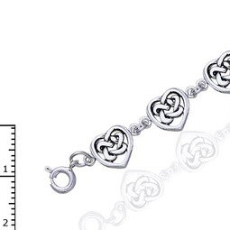 """Celtic Trinity Knot Heart Link Bracelet, 7.5"""" Nickel-Free Sterling Silver"""
