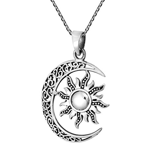 AeraVida Celtic Crescent Moon and Sun Eclipse .925 Sterling Silver Necklace