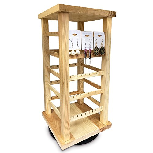 Ikee Design Natural Wood Rotating Jewelry Earring/Accessory Storage Display, can hold up to 100 Pairs of Earrings.