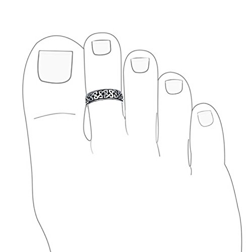 Celtic Knot Mid Finger Ring 925 Silver Adjustable Toe Rings
