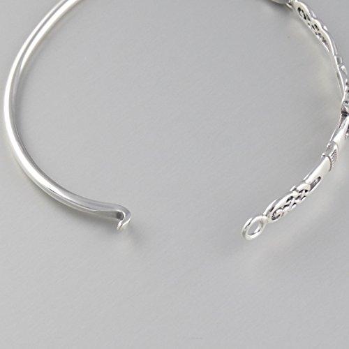 925 Sterling Silver Irish Claddagh Celtic Knot Bangle Bracelet