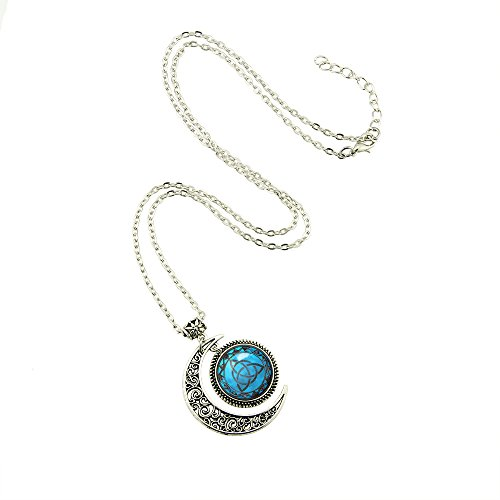 Blue Moon Celtic Triquetra Necklace Pendant Silver Plated Charm Moon jewelry Triquetra Pagan necklace