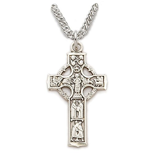 """Sterling Silver 1"""" Celtic cross Necklace with images . 20"""" stainless steel chain"""