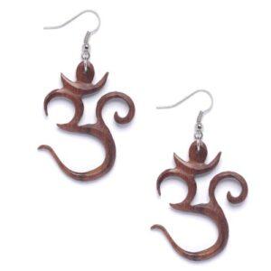 81stgeneration Women's Wood .925 Sterling Silver Om Aum Indian Brown Dangle Earrings