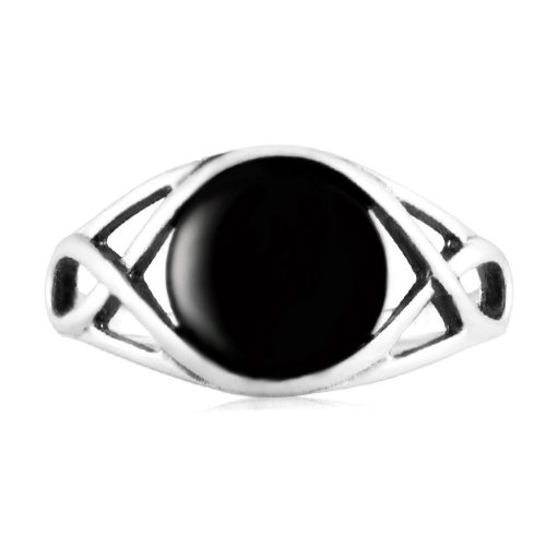 925 Sterling Silver Genuine Black Onyx Celtic Knot Triquetra Trinity Knot Ring
