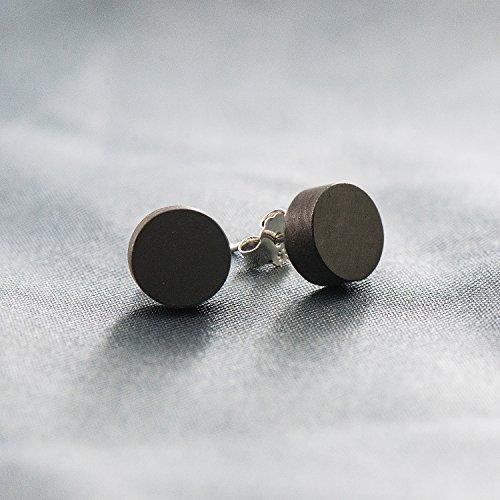 Wicary Wood Earrings Sterling Silver Stud Earrings Nature Sandalwood Earrings for Women Men