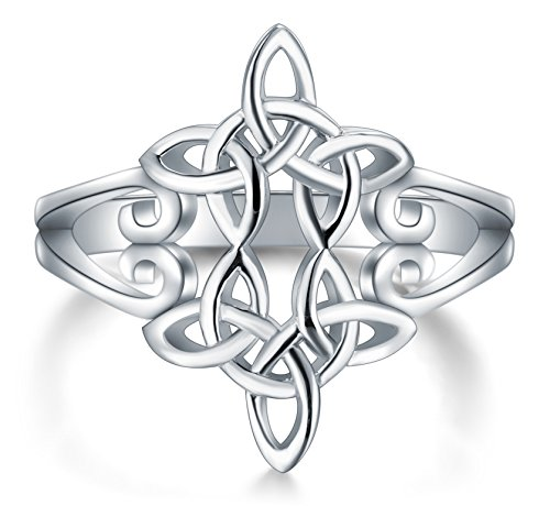 BORUO 925 Sterling Silver Ring Celtic Knot Heart Cross High Polish Tarnish Resistant Eternity Wedding Band Stackable Ring