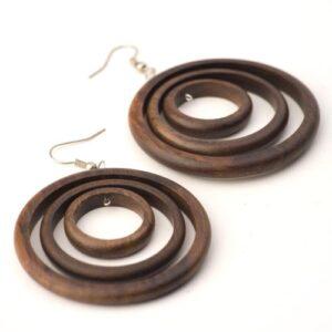 81stgeneration Women's Wood .925 Sterling Silver Round Brown Dangle Hoop Earrings