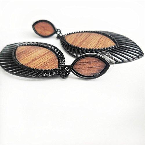 Alloy Wood Grain Earrings for Women Leaf Shape Big Statement Beautiful Earrings