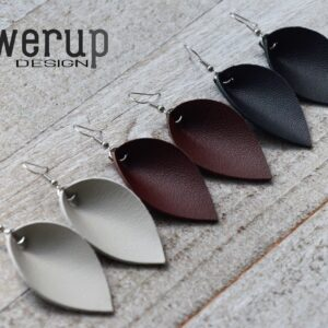 Leather Earrings, Set of 3, brown black gray special offer, Joanna Gaines Style