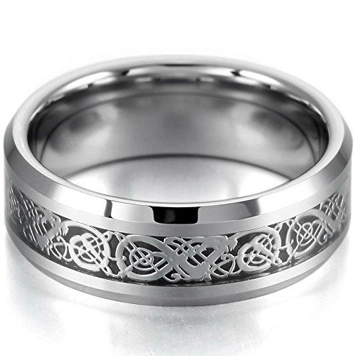 MOWOM Silver Tone Black 8mm Tungsten Ring Band Irish Celtic Knot Dragon Comfort Fit Wedding