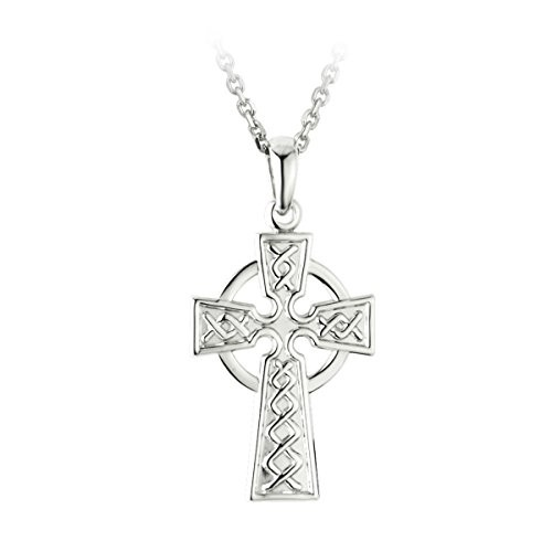 Mens Celtic Cross Necklace Sterling Silver Two Sided Irish Made