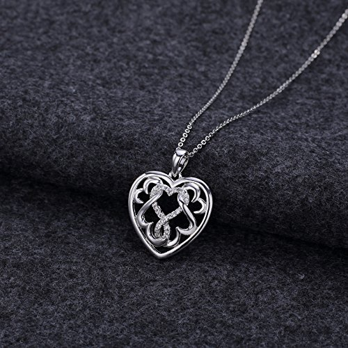 LIUANAN 925 Sterling Silver Infinity Heart Necklace Luck Celtic Knot Heart Pendant Gift For Girls Women (Infinity Heart Necklace)