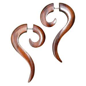 UMBRELLALABORATORY Tribal Organic Wooden Earrings Fake Gauges Sold As Pair Bohemian Jewelry w 25