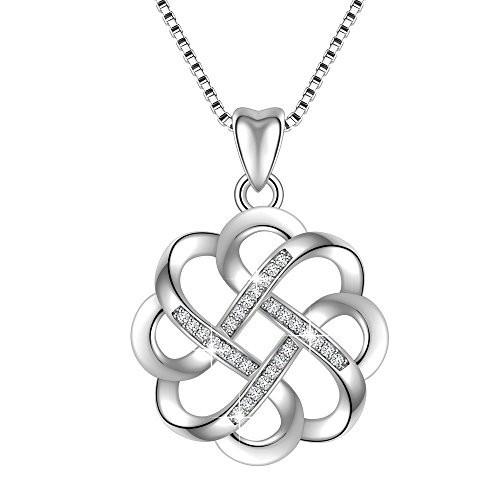Angemiel 925 Sterling Silver CZ Good Luck Celtic Knot Cross Vintage Pendant Necklace Womens