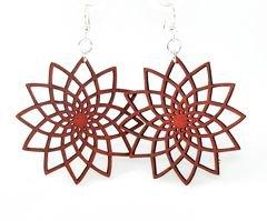 Green Tree Jewelry Star Flower Earrings Wine Wood Wooden Laser Cut #1234