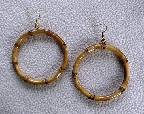 "Bamboo Wood Large 3"" Diameter Hoop Earrings- Natural Color"