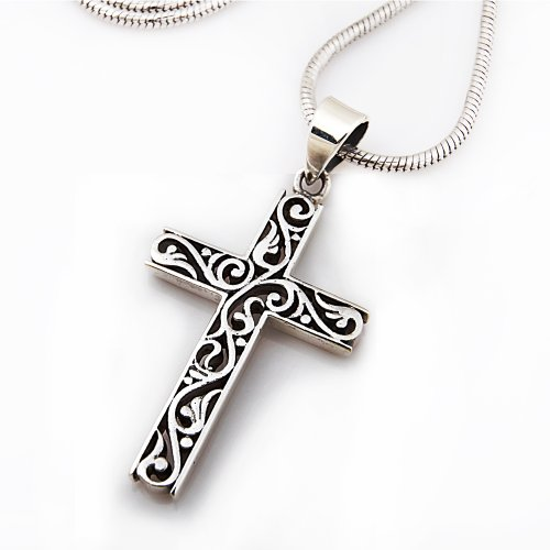 925 Sterling Silver Filigree Celtic Cut-Out Cross Pendant on Alloy Necklace Chain, 18 inches