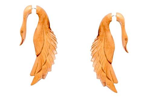 Tibetan Beige Wooden Handmade Tribal Leaf Design Fake Guage Wood Earring WER440