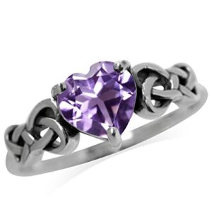 1.04ct. Natural Heart Shape Amethyst 925 Sterling Silver Celtic Knot Ring