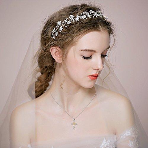 YFN Women Religious Jewelry 925 Sterling Silver Two-tone Eternal Love Heart Celtic Knot Cross Pendant Necklace
