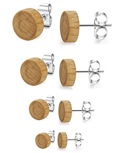 LOYALLOOK 4 Pairs Wood Stud Earrings Stainless Steel Pierced Post Earrring for Mens Womens 6mm-12mm