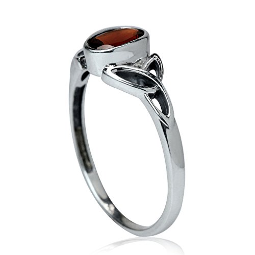 Natural Garnet 925 Sterling Silver Triquetra Celtic Knot Ring