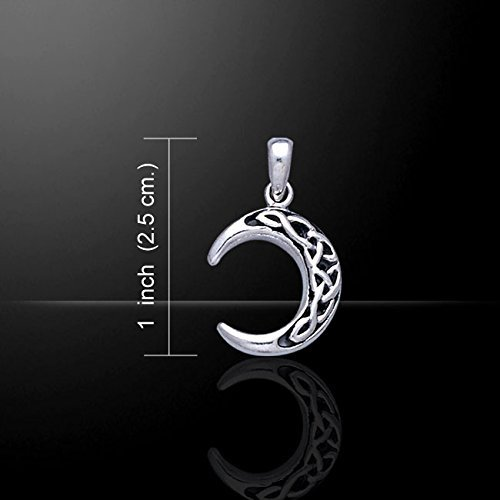 """Sterling Silver Celtic Knot Crescent Moon Pendant with 18"""" Box Necklace"""