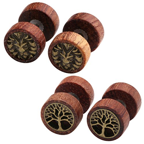 Jovivi 2-4pc Organic Sono Wood Lion Head/Tree of Life Cheater Fake Ear Plugs Gauges 10mm Illusion Screw Stud Earrings