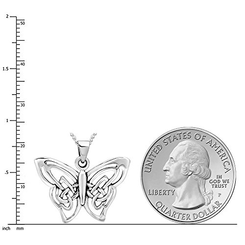 "925 Sterling Silver Celtic Butterfly Pendant Necklace, 18"""