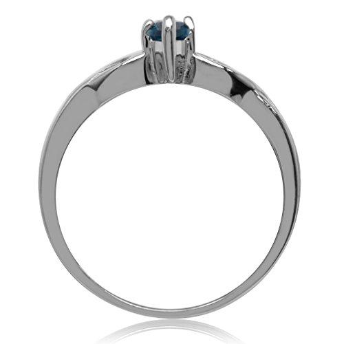 Genuine London Blue Topaz 925 Sterling Silver Celtic Knot Heart Ring