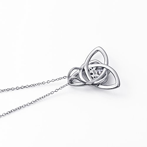 """925 Sterling Silver Good Luck Irish Claddagh Celtic Knot Love Heart Pendant Necklace for Women Birthday Gift, 18"""" Rolo Chain"""